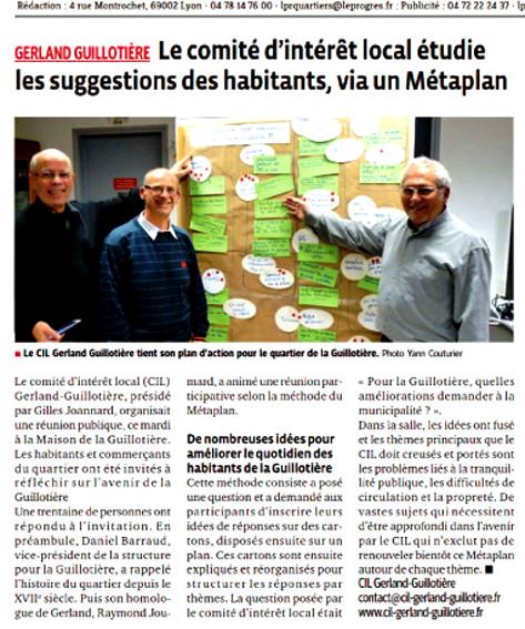 Réunion de démocratie participative à la Guillotière (Le Progès du 20/11/2014)