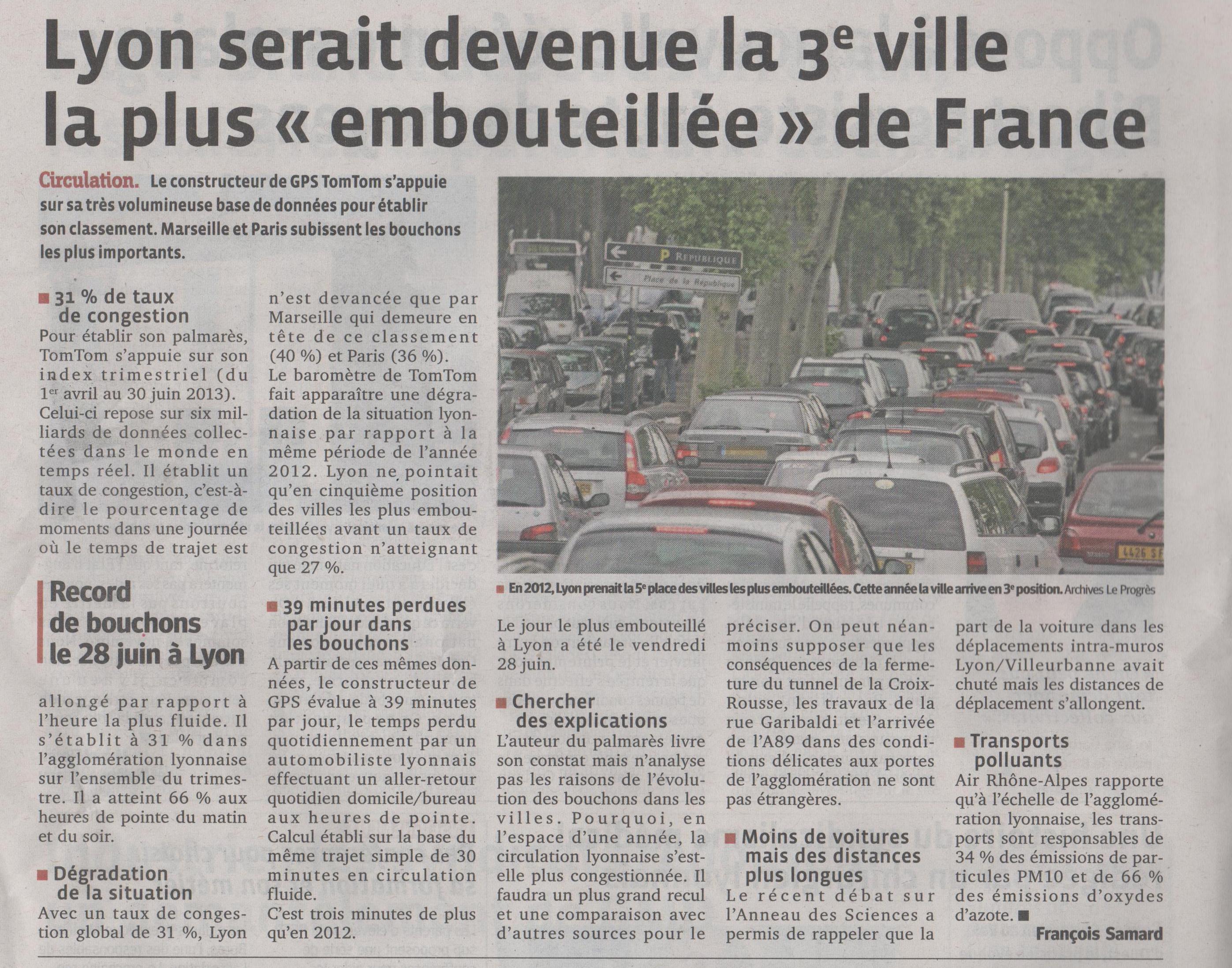 Lyon embouteillée (Le Progès)