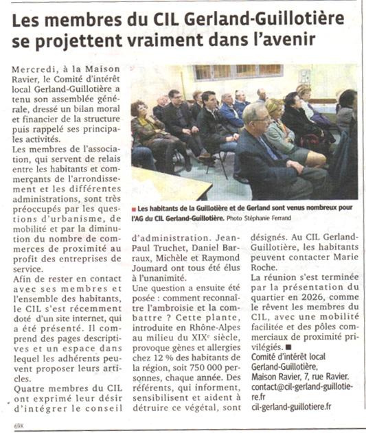AG 2014 du CIL Gerland Guillotière - Extrait du Progrès
