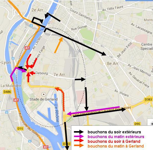 Congestions régulières de trafic à Gerland
