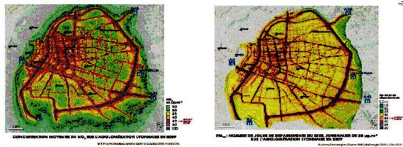 La pollution moyenne dans Lyon selon Air Rhône Alpes