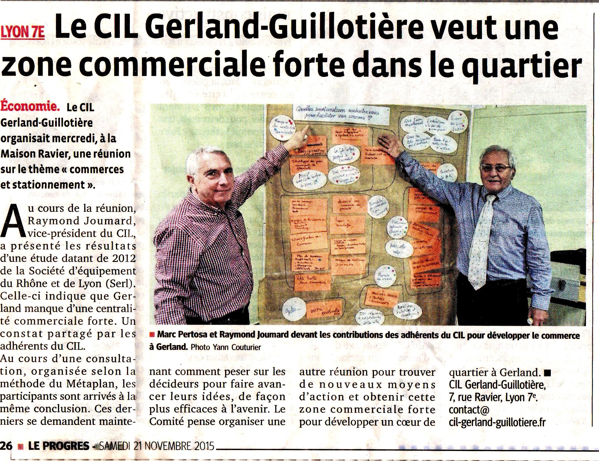Réunion publique sur les améliorations du commerce à Gerland (Le Progrès)