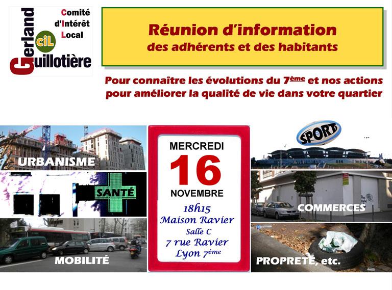 Annonce Réunion du 16 Novembre 2016