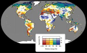 Evolution des précipitations provoqué par le dérèglement climatique